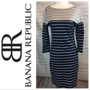 Banana Republic 3/4 Slv Striped Dress